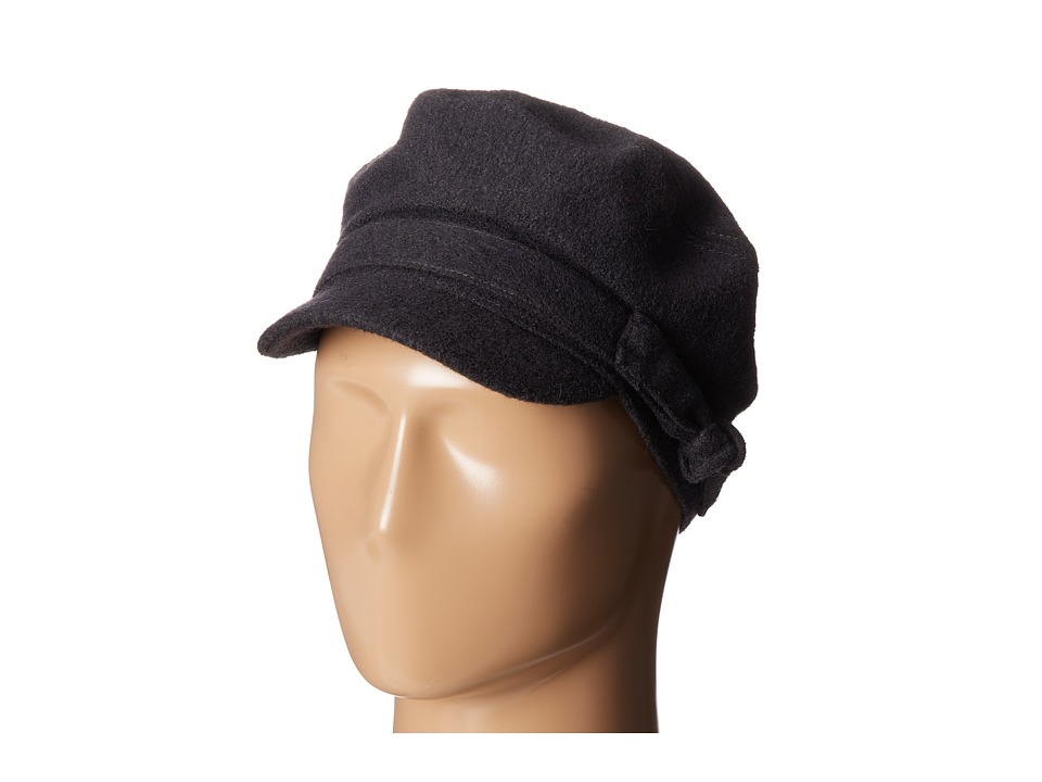 San Diego Hat Company - CTH3708 Wool Blend Cabbie with Self Belt Bow (Charcoal) Traditional Hats