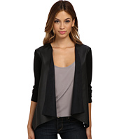 Velvet by Graham & Spencer - Candy Faux Leather & Ponte Draped Cardi