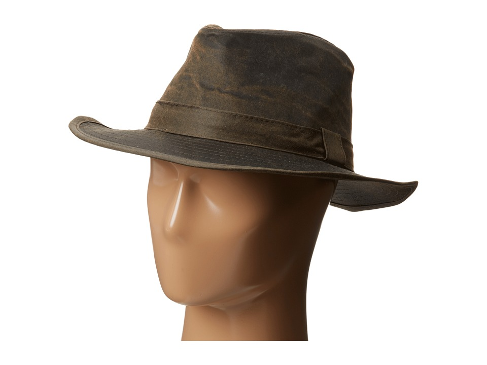 San Diego Hat Company CTH3730 2.25 Distressed Wide Brim Fedora with Self Band (Brown) Fedora Hats