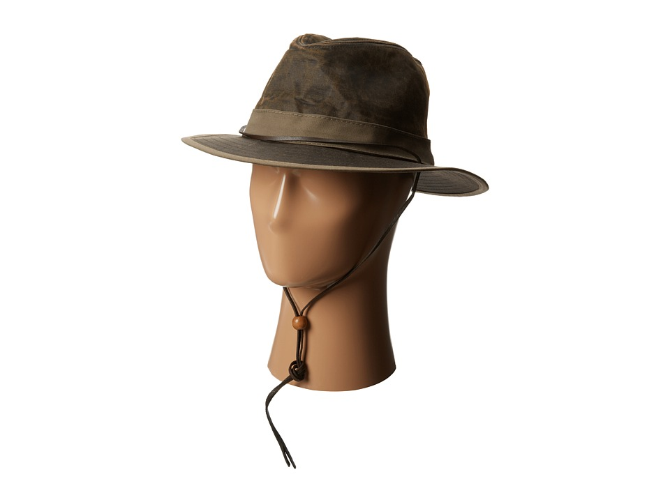 San Diego Hat Company CTH3728 2.25 Distressed Wide Brim Fedora with Twill Band Chin Cord (Brown) Fedora Hats