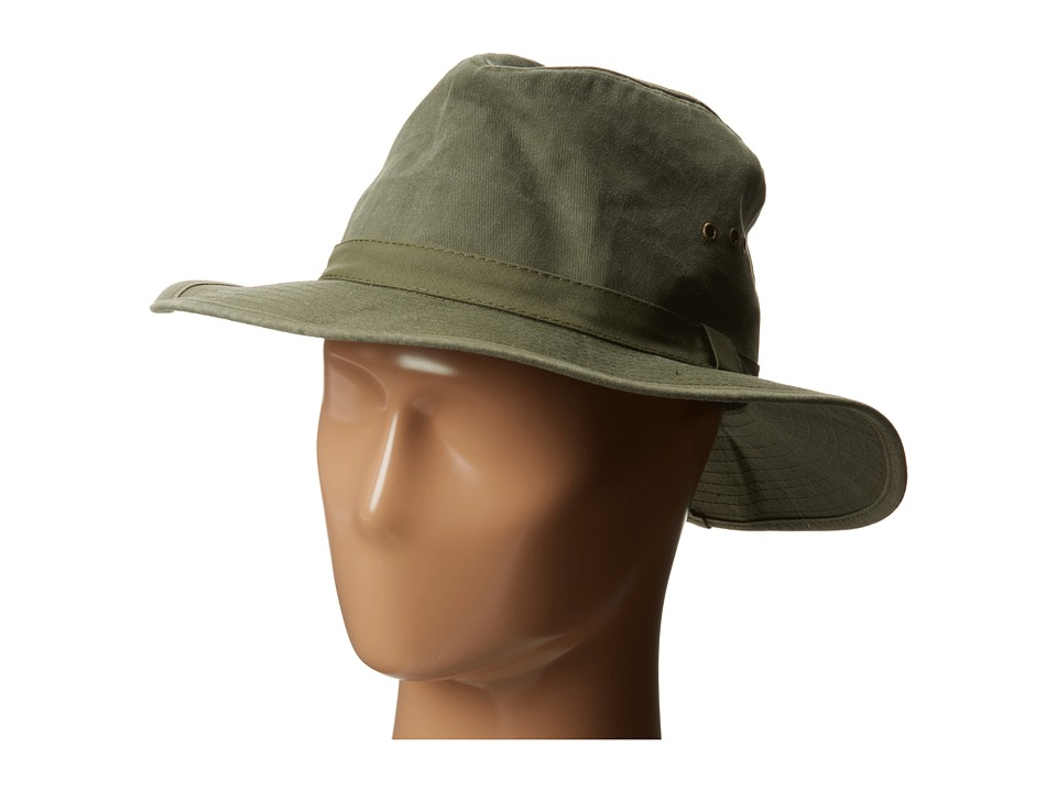 San Diego Hat Company CTH3732 3 Distressed Canvas Wide Brim Fedora Band with Grommets (Olive) Fedora Hats