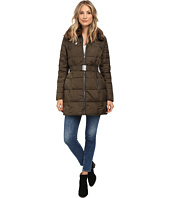 DKNY - Belted Faux Fur Hooded Down Coat