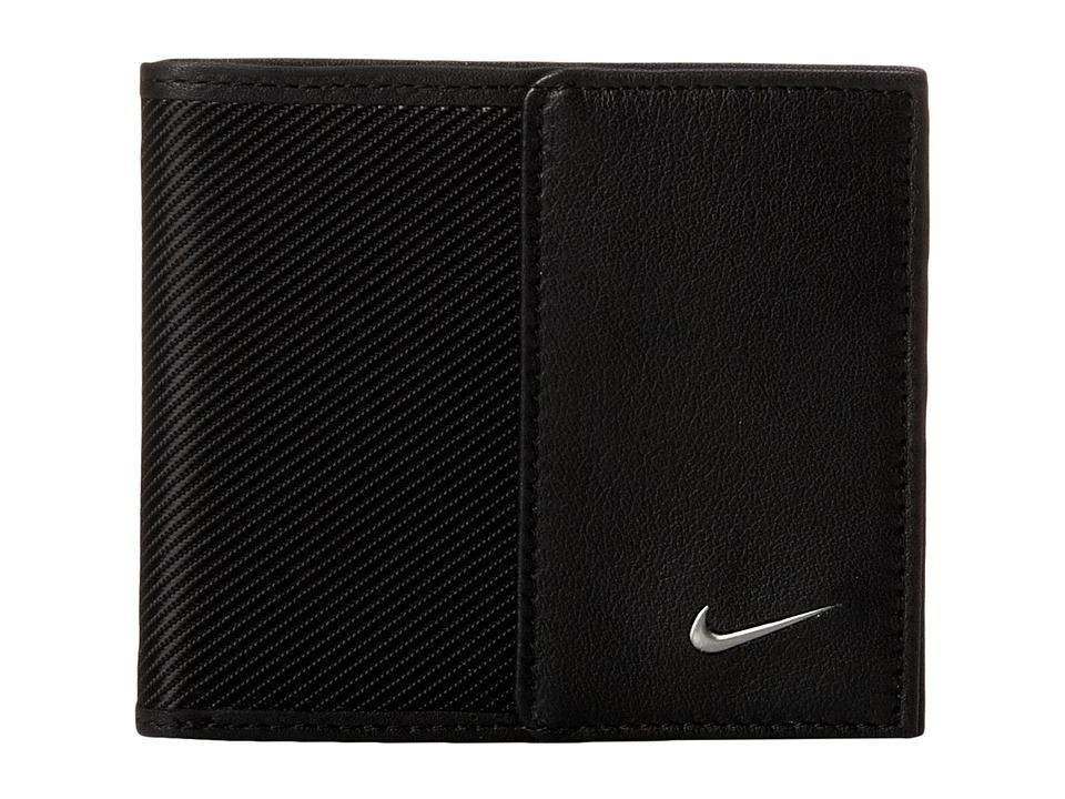 Nike - Nike Leather/Tech Twill Billfold (Black) Bill-fold Wallet