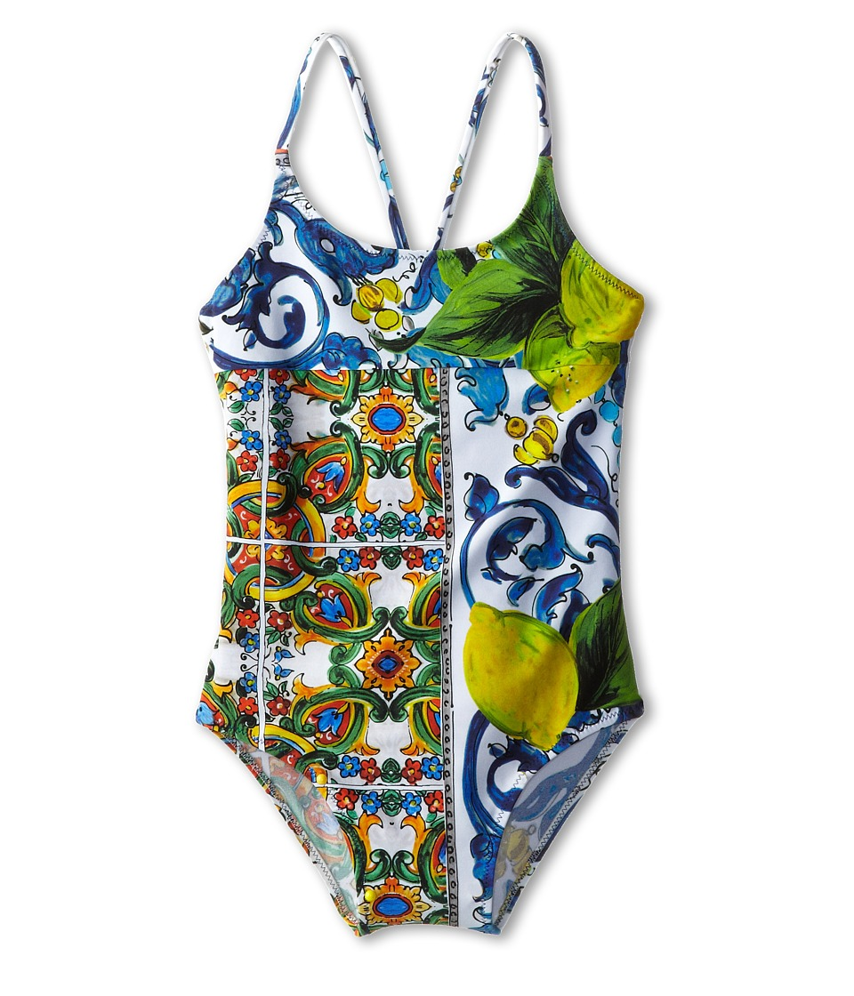 Dolce & Gabbana Graphic Print One-Piece Swimsuit (Toddler/Little Kids/Big Kids) (Print) Women's Swimsuits One Piece<br />