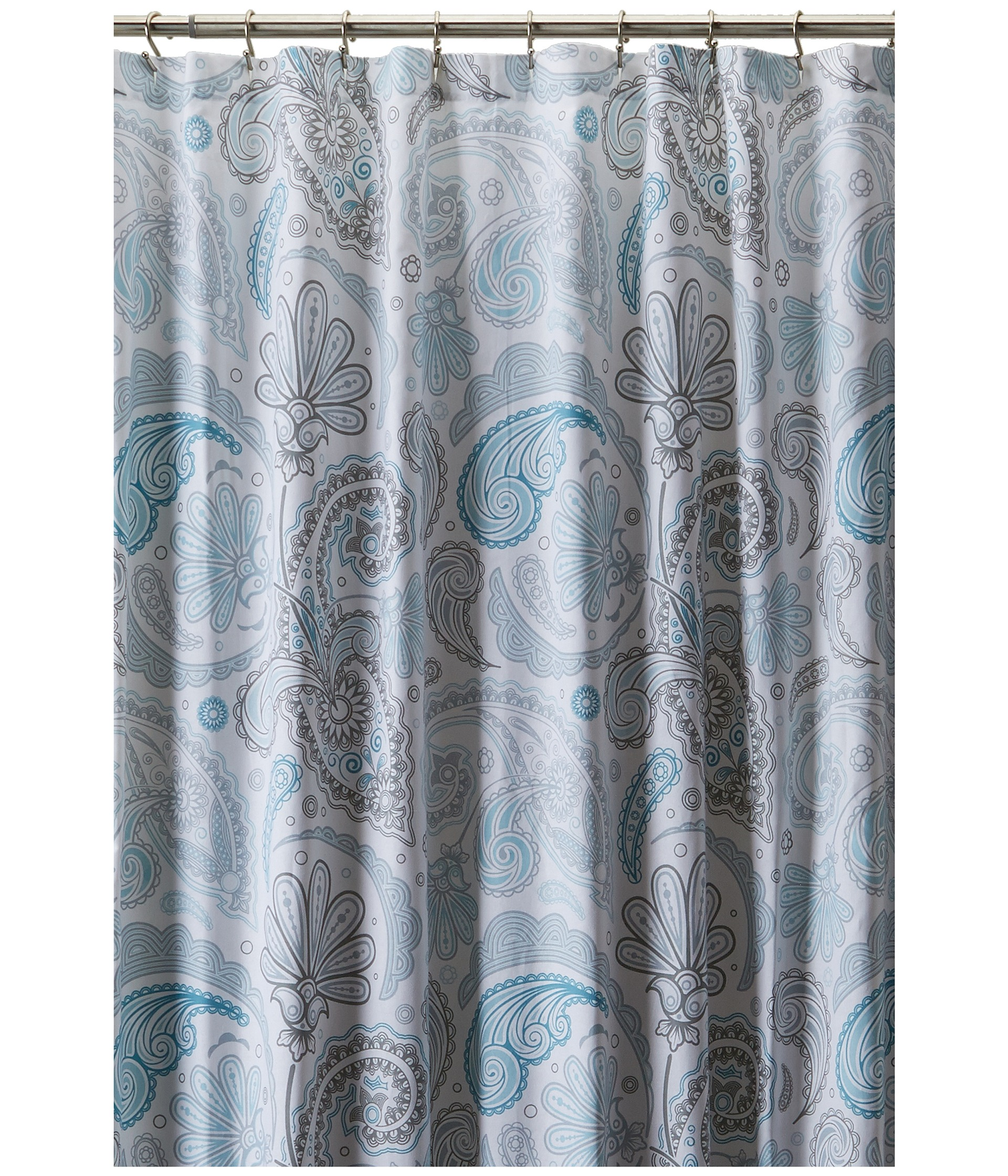 Kassatex Paisley Shower Curtain Blue Grey Women Shipped