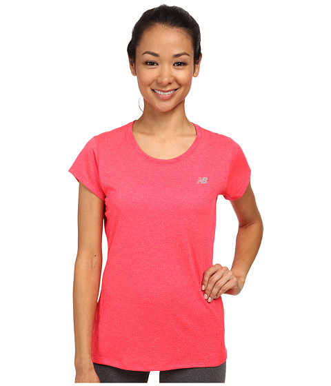 New Balance - Heathered Short Sleeve Top (Bright Cherry) Women's Short Sleeve Pullover