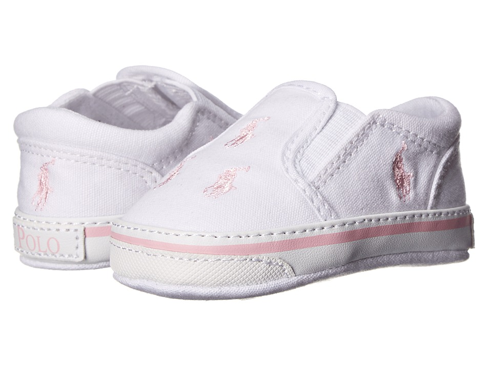 Ralph Lauren Layette Kids Bal Harbour Repeat Infant/Toddler White Canvas/Pastel Pink Ponies Girls Shoes