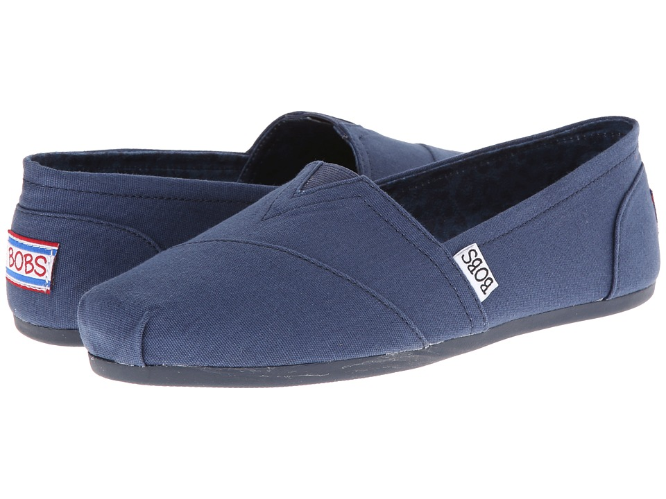 BOBS from SKECHERS - Bobs Plush - Peace Love (Navy) Womens Flat Shoes