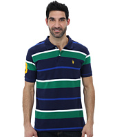 U.S. POLO ASSN. - Multi Color Striped Pique Polo with Small Pony Logo