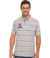 U.S. POLO ASSN. - Stripe Short Sleeve Pique Polo with Patch and Pony Logos