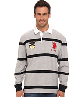 U.S. POLO ASSN. - Long Sleeve Stripe Rugby Polo with Patch and Big Pony Logo
