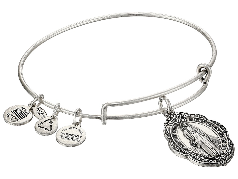Alex and Ani - Mother Mary Charm Bangle II (Rafaelian Silver Finish) Charms Bracelet