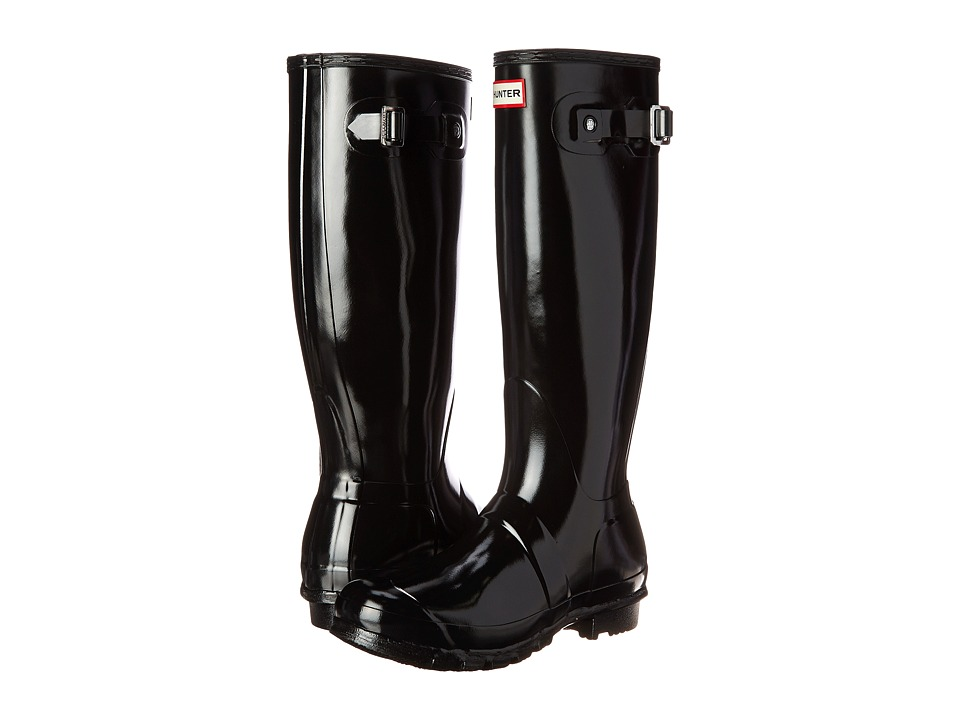 Hunter - Original Tall Gloss Rain Boots (Black Gloss) Womens Rain Boots