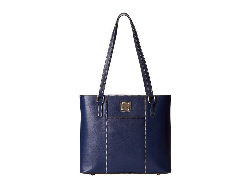 Dooney amp Bourke Saffiano Small Lexington Shopper Marine w/ Self Trim Tote Handbags