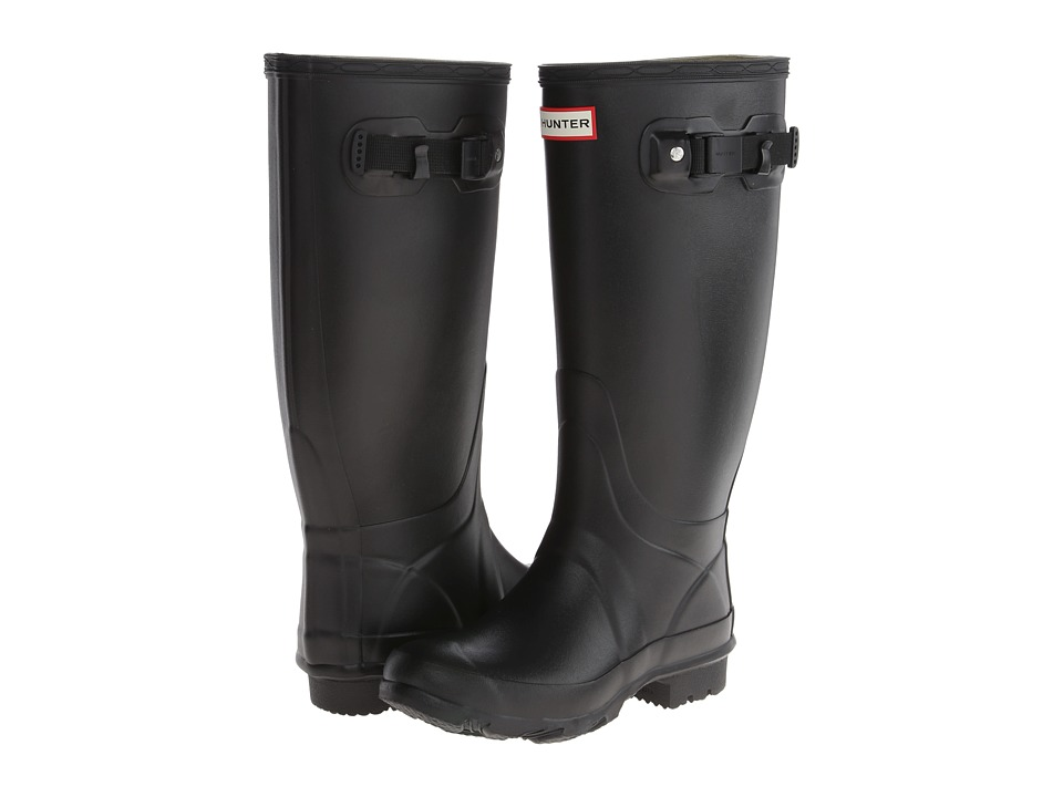 Shop Hunter online and buy Hunter Huntress Black 1 Women's Rain Boots - Note: Select your US size. Please be advised, the boot and box will display UK, US and Euro sizing. For US sizing, both men's and women's sizing is displayed. Men's sizing is represented by M and women's sizing is represented by F.Specially designed as a field boot.Cushioned footbed for maximum comfort.Unique latex construction, which is strong yet flexible.Adjustable strap.Woven nylon lining.Traditional calendered outsole.The brand advises that a white wax film may appear on the surface of the rubber boots and that it can be wiped off with a damp cloth. This blooming effect is not a defect. Blooming is caused when the boots are exposed to extreme temperatures or temperature swings and the wax helps prevent the rubber from weathering. Measurements:Heel Height: 1 inWeight: 2 lbsCircumference: 16 inShaft: 13 1 2 inProduct measurements were taken using size 6, width M. Please note that measurements may vary by size.