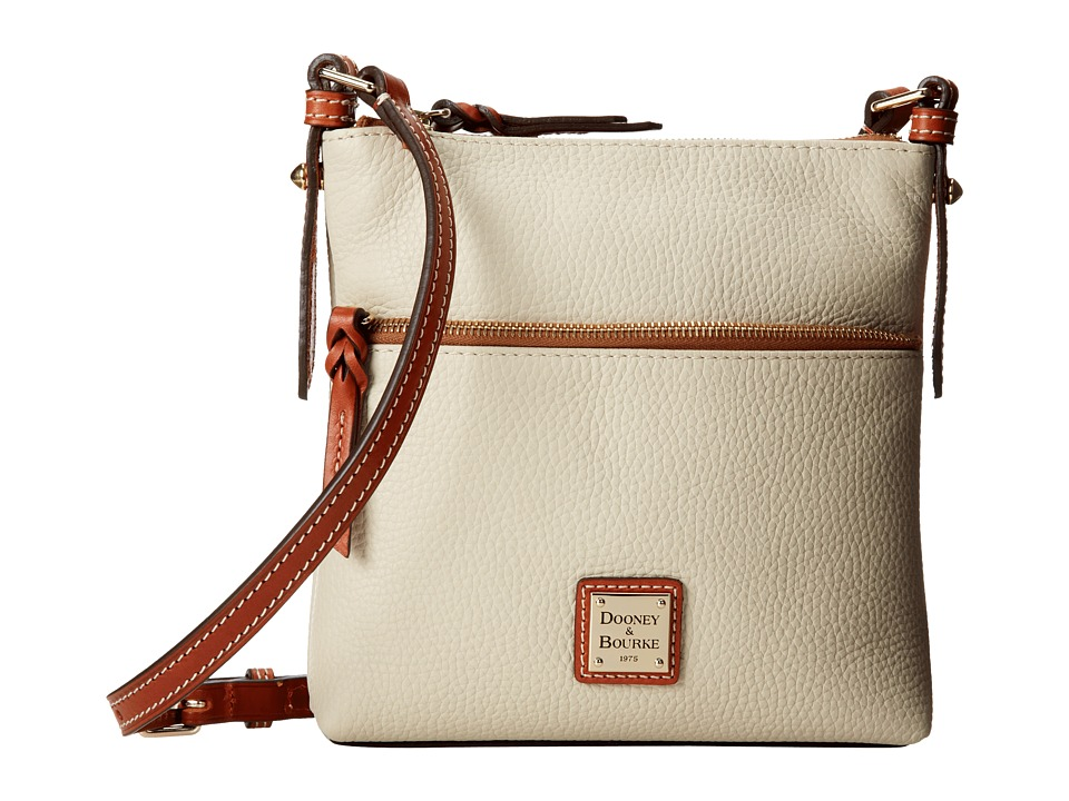Dooney & Bourke - Pebble Leather Letter Carrier (Bone w/ Tan Trim) Cross Body Handbags