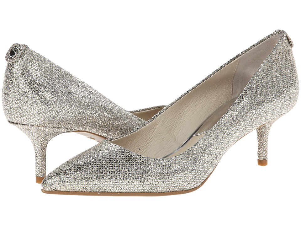 MICHAEL Michael Kors MK Flex Kitten Pump (Silver Glitter/Mirror Metallic) High Heels