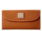 Image of Dooney & Bourke - Pebble Leather New SLGS Continental Clutch (Caramel w/ Tan Trim) Clutch Handbags
