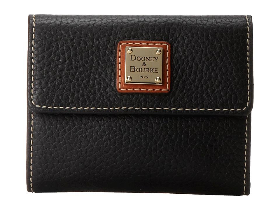 Dooney & Bourke - Pebble Leather New SLGS Small Flap Credit Card Wallet (Black w/ Tan Trim) Wallet Handbags