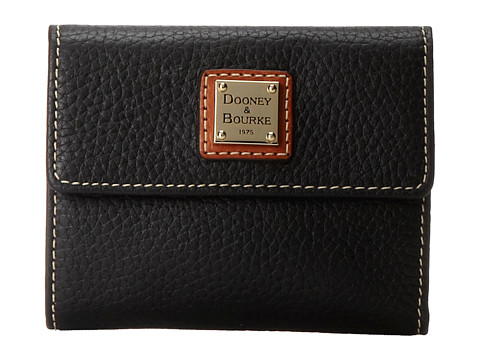 Dooney & Bourke Pebble Leather New SLGS Small Flap Credit Card Wallet - Black w/ Tan Trim