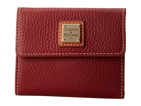 Dooney & Bourke Pebble Leather New SLGS Small Flap Credit Card Wallet - Cranberry w/ Tan Trim