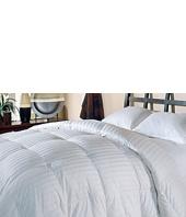 Royal Luxe - Damask Stripe White Down Comforter-Full/Queen