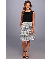 Ellen Tracy  Cap Sleeved Eyelet Top w/ Printed Skirt  image