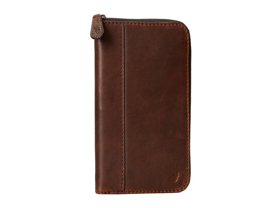 Frye - Logan Travel Wallet (Dark Brown Antique Pull Up) Wallet Handbags