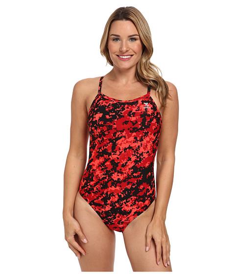 TYR Team Digi Camo Diamondfit (Red) Women's Swimsuits One Piece