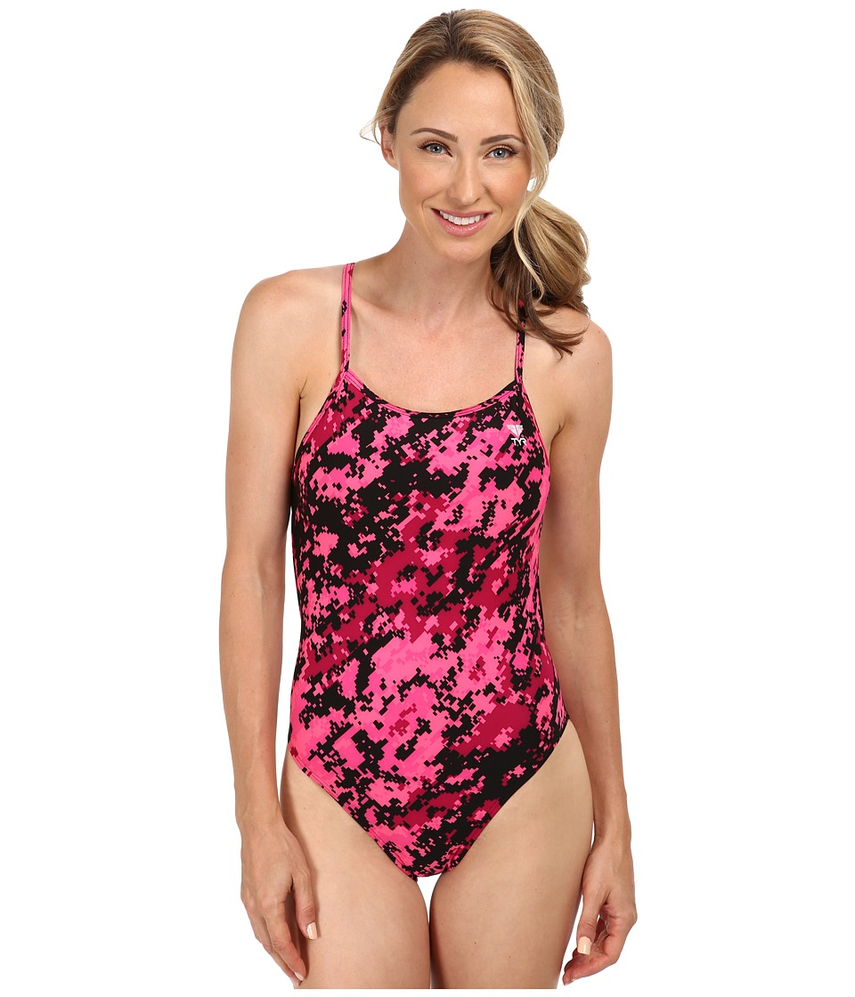 TYR TYR Pink Training Digi Camo Crosscutfit Swimsuit (Pink) Women's Swimsuits One Piece<br />