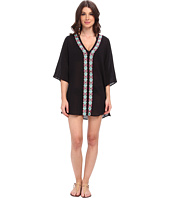 La Blanca - Embodied 3/4 Sleeve Tunic Cover-Up w/ Embroidered Front