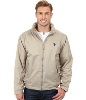 U.S. POLO ASSN. - Solid Hooded Windbreaker with Polar Fleece Lining and Small Pony