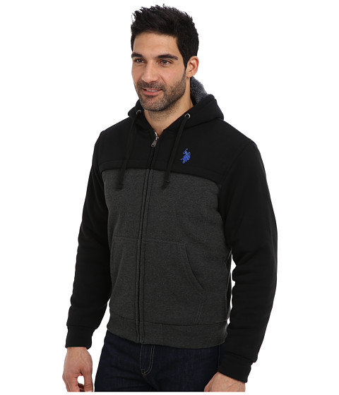 U.S. POLO ASSN. Sherpa Lined Color Block Full Zip Hoodie - 6pm.com