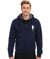 U.S. POLO ASSN. - Sherpa Lined Full Zip Fleece Hoodie w/ Big Pony