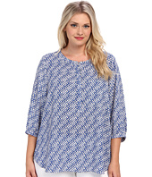 NYDJ Plus Size - Plus Size 3/4 Sleeve Abstract Basket Weave Top