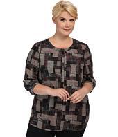 NYDJ Plus Size - Plus Size Houndstooth Patchwork Plaid 3/4 Sleeve Blouse