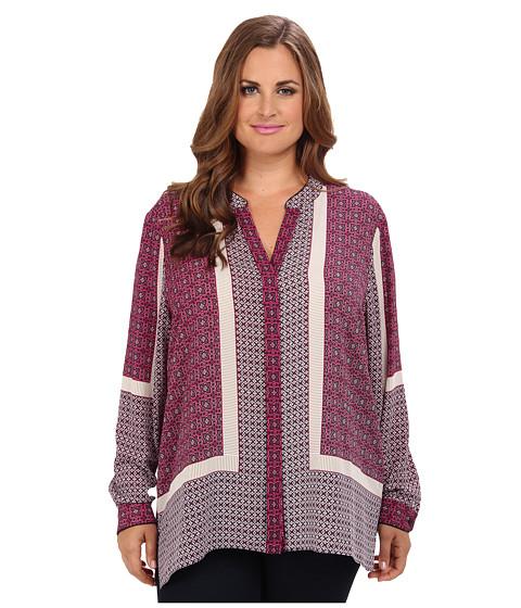 NYDJ Plus Size Plus Size Scarf Print Button Front Blouse (Boysenberry) Women's Blouse