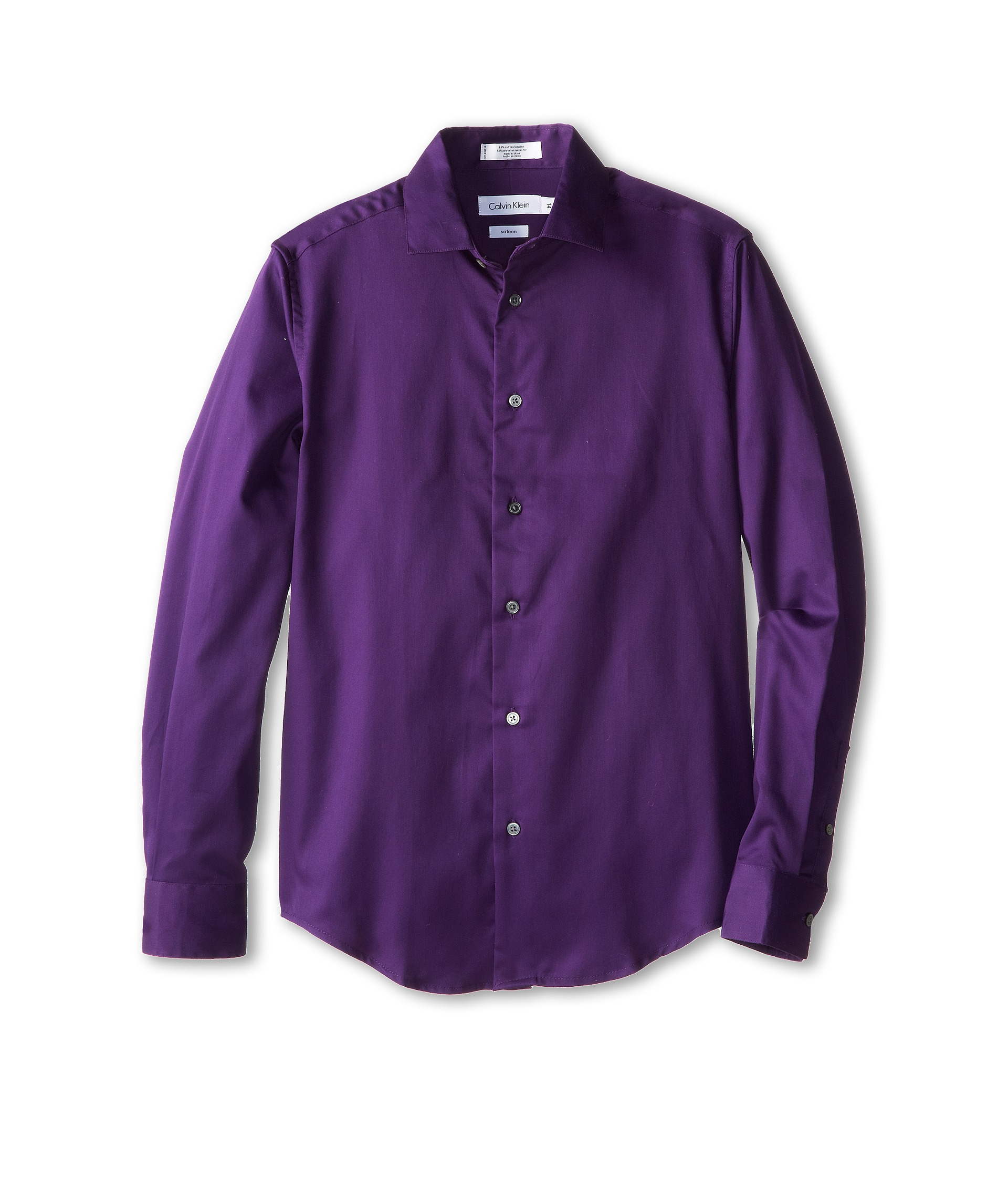 Calvin Klein Kids L S Sateen Dress Shirt Big Kids Dark ...