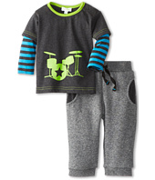 le top - Rock On Shirt w/ Stripe Sleeves Drum Star & Marled Grey French Terry Pant (Infant/Toddler)