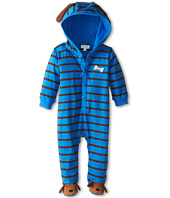 le top - Lucky Dog Footed Stripe Hooded Coverall - Puppy Feet & Ears (Newborn)