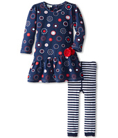 le top - Dots of Fun Asymmetrical Drop Waist Dresss & Stripe Footless Tights (Toddler/Little Kids)