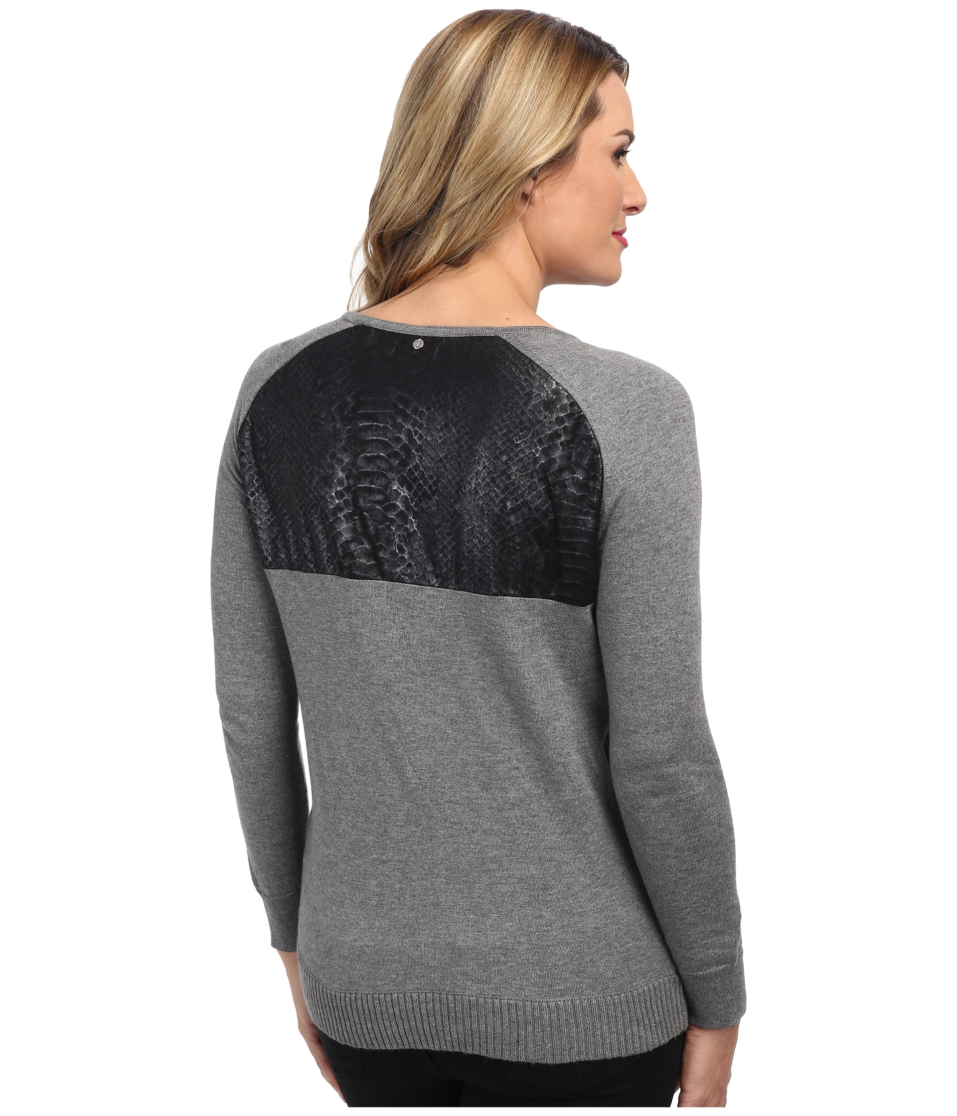 calvin klein jeans 14gg sweater w leather detail shipped. Black Bedroom Furniture Sets. Home Design Ideas