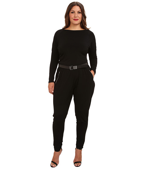 MICHAEL Michael Kors Plus Size Overarm Zip Jumpsuit (Black) Women's Jumpsuit & Rompers One Piece
