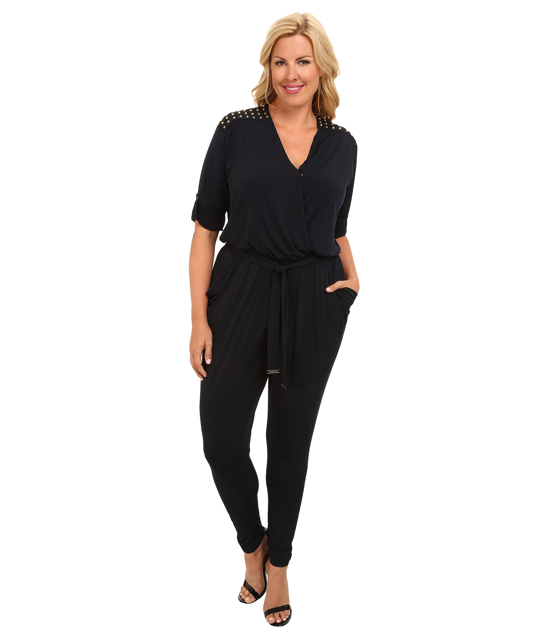 michael michael kors plus size roll sleeve stud jumpsuit new navy shipped free at zappos. Black Bedroom Furniture Sets. Home Design Ideas