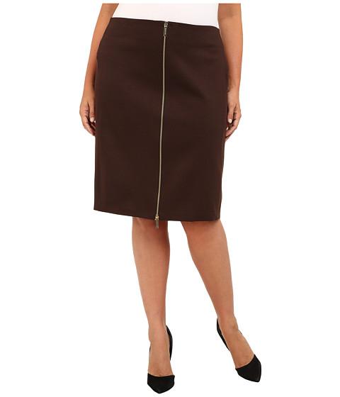 MICHAEL Michael Kors Plus Size Zip Seamed Skirt (Chocolate) Women's Skirt
