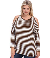 MICHAEL Michael Kors - Plus Size L/S Stripe Cold Shoulder Top