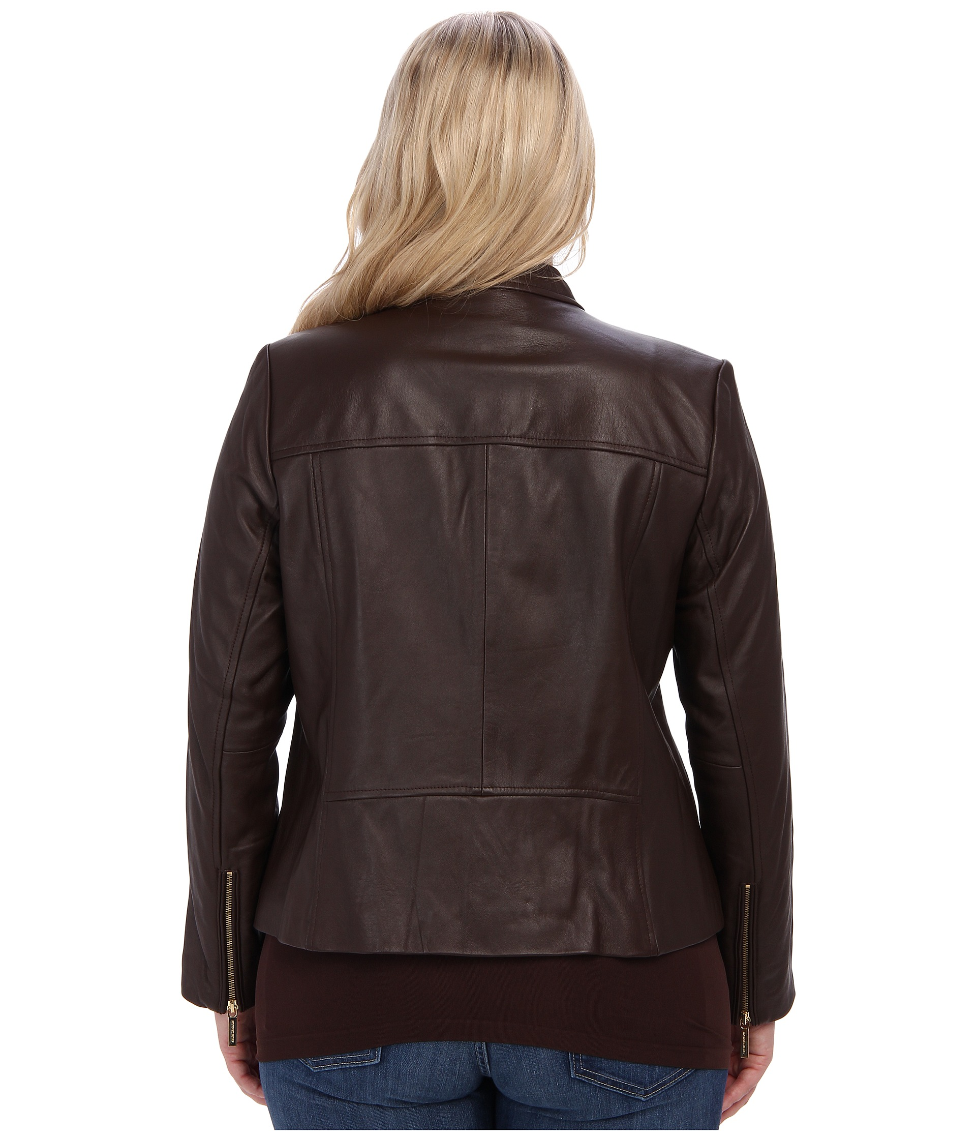 michael michael kors plus size zip pocket leather jacket shipped free at zappos. Black Bedroom Furniture Sets. Home Design Ideas