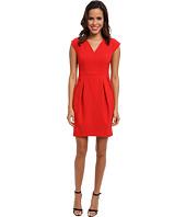 Ivy & Blu Maggy Boutique - Extended Sleeve Solid V-Neck Dress w/ Barrel Skirt