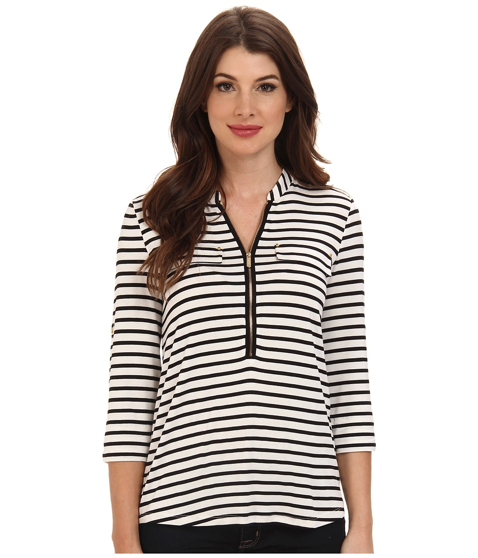 Calvin Klein - Zip Front Roll Sleeve (Birch/Black Birch/Birch) Womens Long Sleeve Pullover