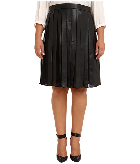 Calvin Klein Plus Plus Size PU Chiffon Skirt (Black) Women's Skirt